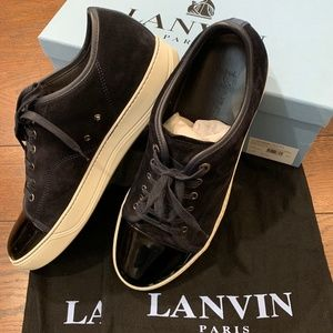 Lanvin Patent Cap Toe and Suede Sneakers